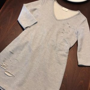 Distressed gray tunic dress- xs